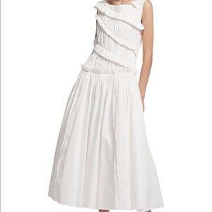 Aje white ruffle cotton midi dress NWT 0